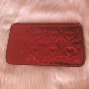 Marc Jacobs Red Metallic Heart Makeup Bag Clutch